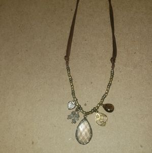 Silpada silver/leather necklace with various jewel